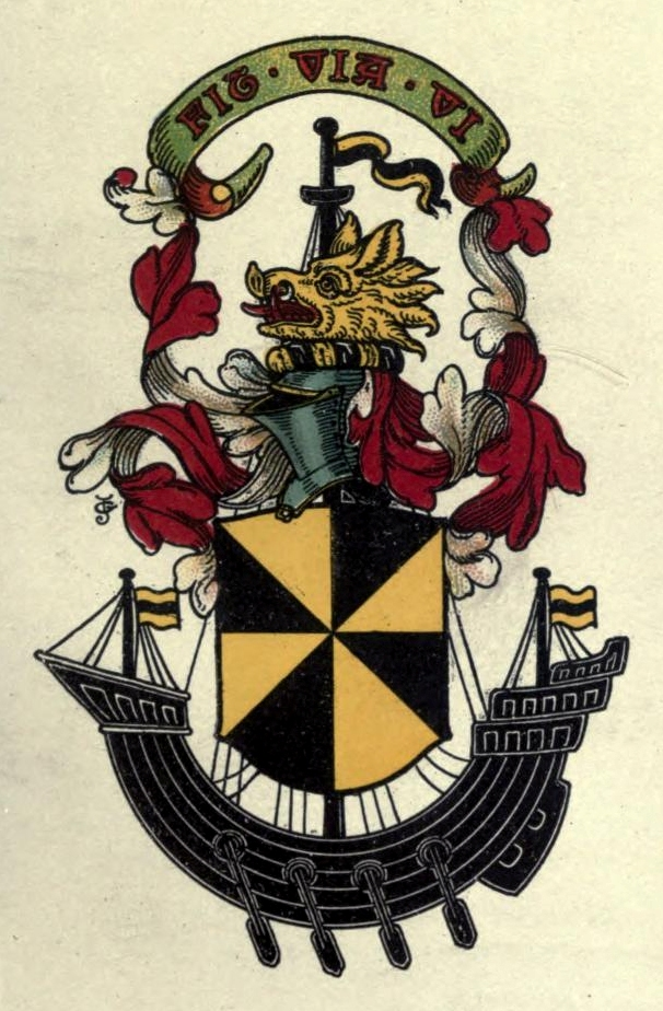 Campbell of Craignish Coat of Arms: Gyronny of eight, Or and Sable; the shield placed in front of the mast of a galley, oars in action, flags flying, Sable.
