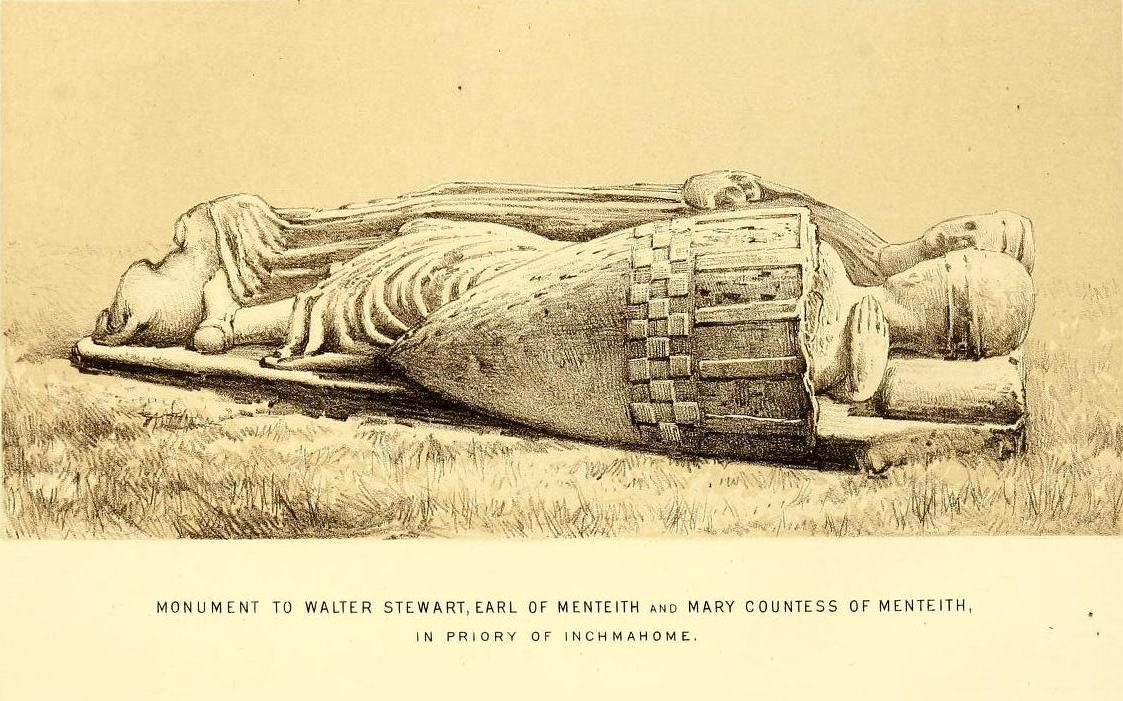 effigy of walter stewart earl of menteith and his countess mary. the red book of menteith